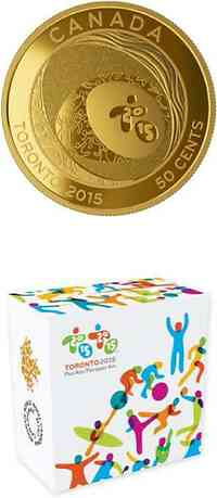 "Kanada : 50 Cent Pan Am/Parapan Am Games ""Celebrating Excellence"" - vergoldet  2015 Stgl."