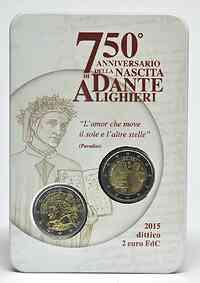 Italien : 4 Euro Dante Alighieri + 2 Euro Umlaufmünze  2015 Stgl.