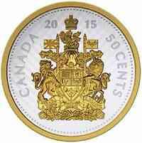 Kanada : 5 Cent 50 Cent von 1959 - Große Münzen - 5 oz - teilvergoldet  2015 PP