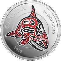 Kanada : 50 Dollar Die Fabelwelt der Haida - Der Orca - 5 Oz  2016 PP
