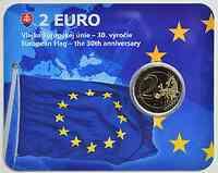Slowakei 2 Euro 30 Jahre Europäische Flagge in Coincard 2015 Stgl.