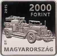 Ungarn : 2000 Forint 125. Jahre Kornél Szilvay - Feuerwehr quadratisch 2015 Stgl.