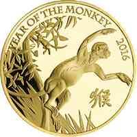 Großbritannien : 10 Pfund Lunar Affe 1/10 oz  2016 Stgl.
