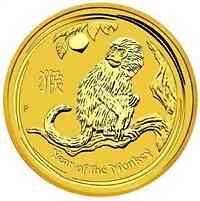 Australien : 15 Dollar  Jahr des Affen 1/10 oz - farbig  2016 Stgl.