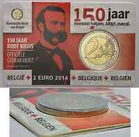 Belgien : 2 Euro 150 Jahre Rotes Kreuz in Belgien - Fehlprägung Randschrift Italien *2*2  2014 Stgl.