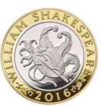 """Großbritannien : 2 Pfund Shakespeare """"Komödie""""  2016 PP"""