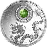 Kanada : 5 Dollar Geburtsstein Juli mit Swarowski-Kristall Hellgrün  2016 PP