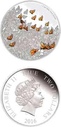 Niue : 2 Dollar Große Tierherden - Monarchfalter  2016 PP