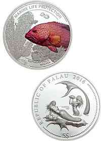 Palau Islands : 5 Dollar Juwelenbarsch - Marine Life Protection  2016 PP