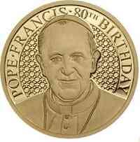 Cook Islands : 5 Dollar 80. Geburtstag Papst Franziskus  2016 PP