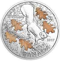Kanada : 20 Dollar Eichhörnchen und Eiche - mit Eichenholz  2017 PP
