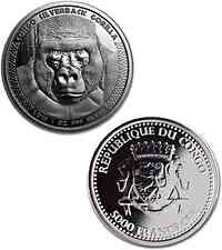 Kongo : 5000 Francs Gorilla  2016 Stgl.