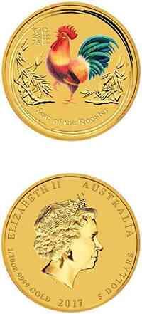Australien : 5 Dollar Jahr des Hahns - farbig  2017 Stgl.