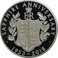 Großbritannien : 5 Pfund Elizabeth II - Saphir Jubiläum  2017 PP