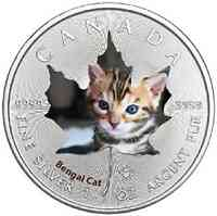 Kanada : 5 Dollar Maple Leaf - Katzenbabies - Bengalkatze  2017 Stgl.