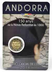 Andorra : 2 Euro 150-jähriges Jubiläum der Neuen Reform von 1866  2016 bfr