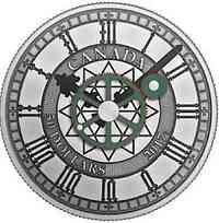 Kanada : 50 Dollar 90 Jahre Peace Tower Uhr mit Kupfer Zahnrädern - Antik finish  2017 Stgl.