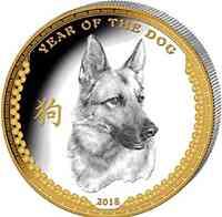 Palau Islands : 5 Dollar Lunar Serie - Jahr des Hundes  2017 PP