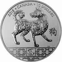 Kanada : 10 Dollar Jahr des Hundes - rund  2018 Stgl.