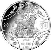 Australien : 10 Dollar RAM Jahr des Hundes  2018 PP