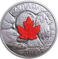 Kanada : 20 Dollar Majestic Maple Leaf - mit Quarz Druse  2017 PP