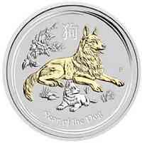 Australien : 1 Dollar Jahr des Hundes - vergoldet - in Kapsel  2018 Stgl.