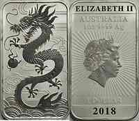 Australien : 1 Dollar Chinesischer Drache - Bullion rechteckig  2018 Stgl.