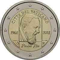 Vatikan : 2 Euro 50. Jahrestag des Todes von Pater Pio  2018 Stgl.