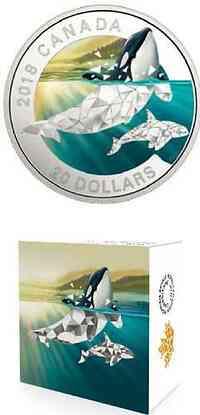 Kanada : 20 Dollar Orcas - Geometric Fauna  2018 PP