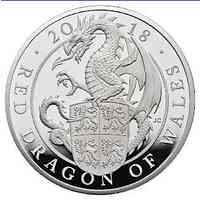 Großbritannien : 2 Pfund The Queen's Beasts Der rote Drache von Wales  2018 PP