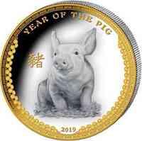 Palau Islands : 5 Dollar Lunar Serie - Jahr des Schweins Ultra Highrelief  2019 PP