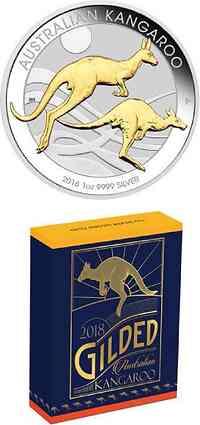 Australien : 1 Dollar Känguru 1 oz - Perth Mint Variante - teilvergoldet  2018 Stgl.