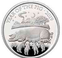 Großbritannien : 2 Pfund Year of the Pig 1oz  2019 PP