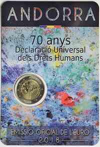 Andorra : 2 Euro 70. Jahrestag der Annahme der allgemeinen Erklärung der Menschenrechte  2018 Stgl.