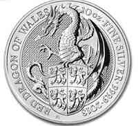 Großbritannien : 10 Pfund The Queen´s Beasts - Drache 10 oz  2018 Stgl.