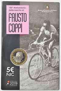 Italien : 5 Euro 100. Geburtstag Fausto Coppi  2019 Stgl.