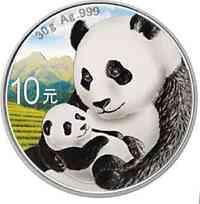 China : 10 Yuan Silberpanda farbig - Variante 2  2019 Stgl.