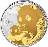 China : 10 Yuan Silberpanda teilvergoldet  2019 Stgl.