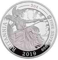 Großbritannien : 500 Pfund Britannia 5 Oz 2019 PP