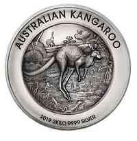 Australien : 60 Dollar Kangaroo 2 kilo Silver Antique finish  2019 PP