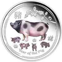 Australien : 1 Dollar Jahr des Schweins - farbig  2019 Stgl.