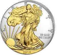 USA : 1 Dollar Silber Eagle 1 oz - teilvergoldet  2019 Stgl.