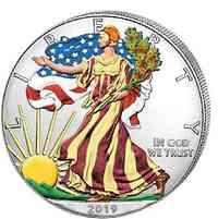 USA : 1 Dollar Silber Eagle 1 oz - farbig  2019 Stgl.