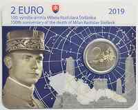 Slowakei : 2 Euro 100 Todestag von Milan Rastislav Stefanik  2019 Stgl.