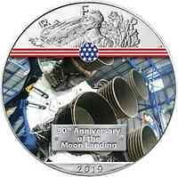 USA : 1 Dollar Silber Eagle – Engine Saturn V  2019 Stgl.