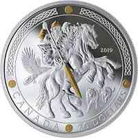 Kanada : 20 Dollar Odin - Nordische Götter #2 - vergoldet  2019 PP