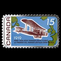 Kanada : 20 Dollar 1. Non-Stop Transatlantikflug - Briefmarkenoptik-farbig 2019 PP