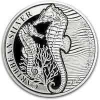 Barbados : 1 Dollar Karibisches Seepferdchen 1 oz  2019 Stgl.