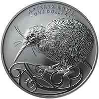 Neuseeland : 1 Dollar Kiwi black - im Blister, 1 oz m.Nickel platiniert  2020 Stgl.