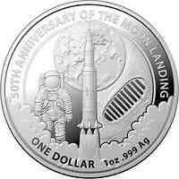 Australien : 1 Dollar 50 Jahre Mondlandung RAM in Kapsel 2019 Stgl.